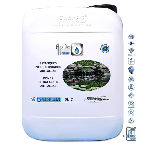 Antialgas Estanques equilibra pH clarificador-alguicida 5Lx100000-aydoagua