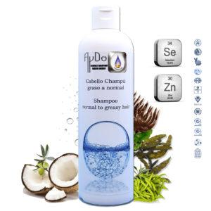 Champu anticaspa antigrasa anticaida ecologico selenio zinc para pelo Graso ingredientes aydoagua