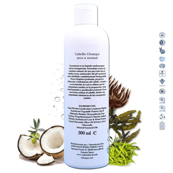 Champu reparador ecologico para cabellos secos anti frizz y dañados vegan ingredientes aydoagua