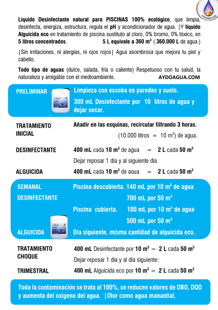 Tratamiento piscina ecológico desinfectante y pH- Piscina antialgas aydoagua